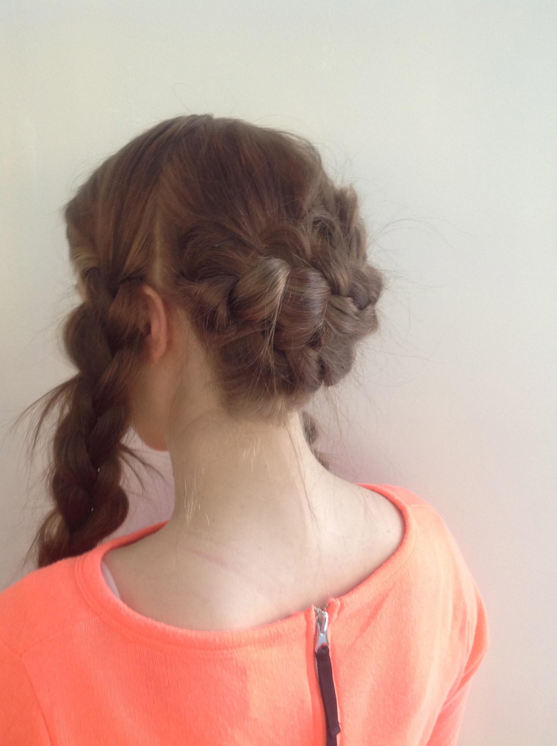 Kiinnitä nyt sivussa olevat letit niskaan tai niin pitkälle kuin hiustesi pituus antaa myöden.