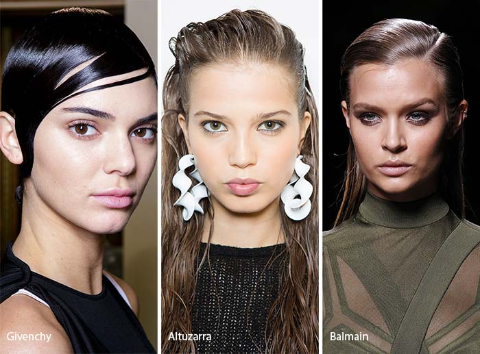 spring_summer_2017_hairstyles_trends_wet_effect_hair