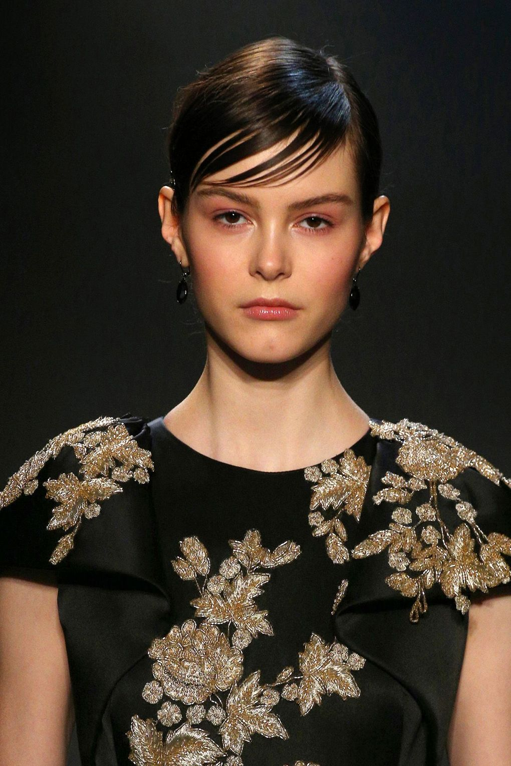 The City: New York The Show: Marchesa The Look: Side-swept fringes